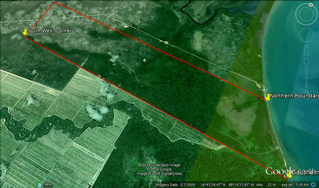 Google Earth view of Mayacan with boundaries